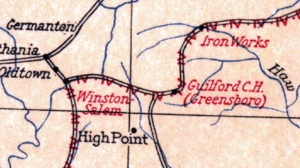 Detail of a segment of George Washington's route through NC on his return to Virginia. (From maps.com)