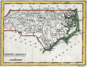 Carey's pocket atlas map of North Carolina 1796-1810, State 2: 1801, 1802