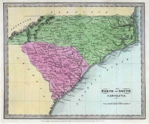 N&S Carolina, from 1835 atlas by David Burr. Image courtesy of the David Rumsey Collection