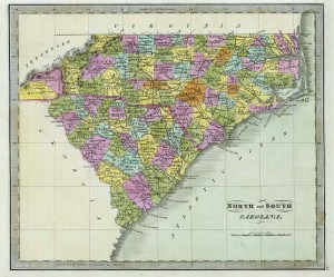 N&S Carolina, from 1840 atlas by Jeremiah Greenleaf. Image courtesy of the David Rumsey Collection