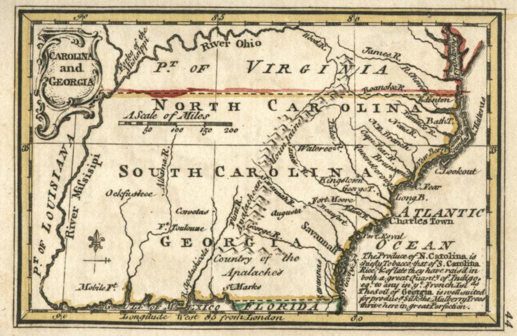 Miniature maps - 1758 Gibson map of Carolina & Georgia