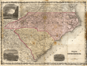 James T. Paterson 1865 map of North and South Carolina