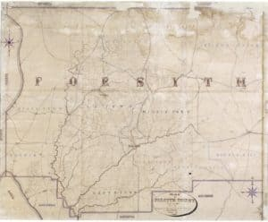 1863 manuscript map of Forsyth County by E. A. Vogler