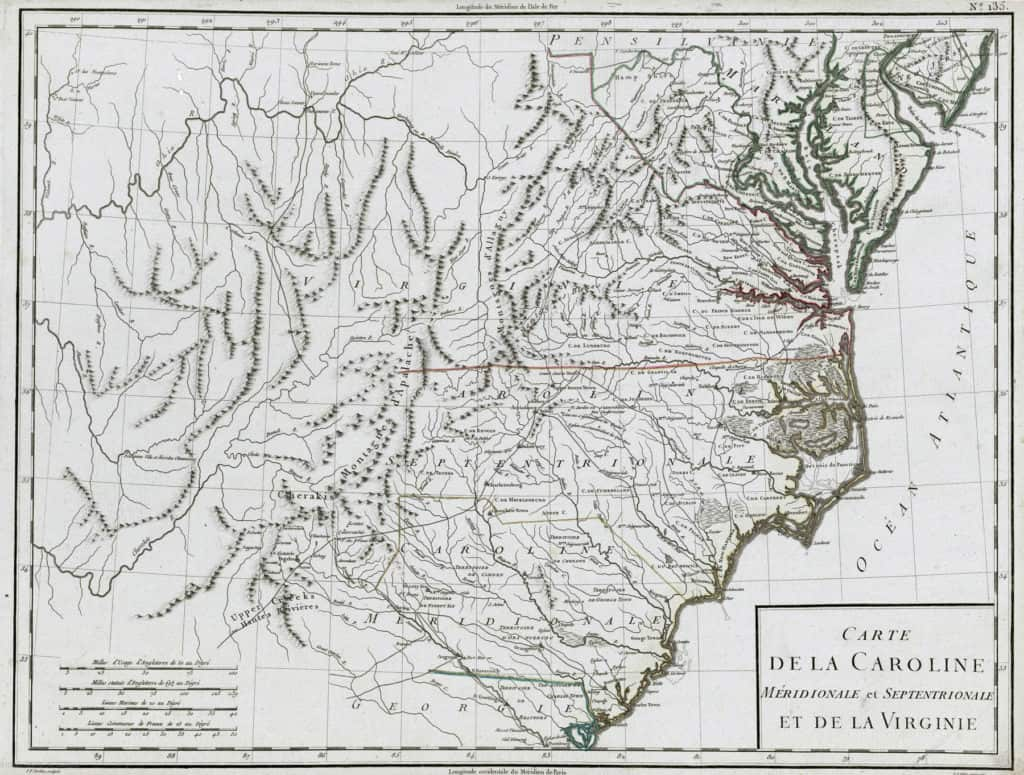 Late 18th Century French map of the Carolinas and Virginia