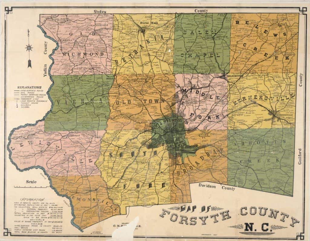 1927 map of Forsyth County, North Carolina