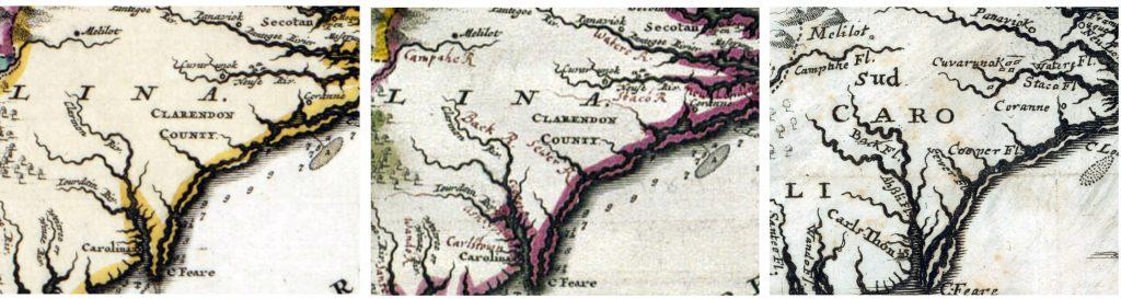 Detail showing added place names on Kocherthal 's map