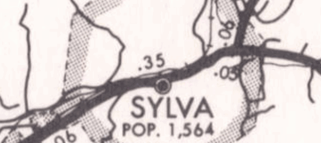 Octagonal shape of the town of Sylva