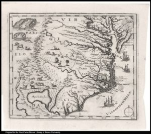 small untitled map of the Carolinas, published in 1709, using outdated geography