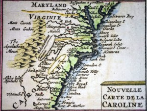 1719 map of Carolina by Chatelain, actual size 5.5 x 7.3 cm.